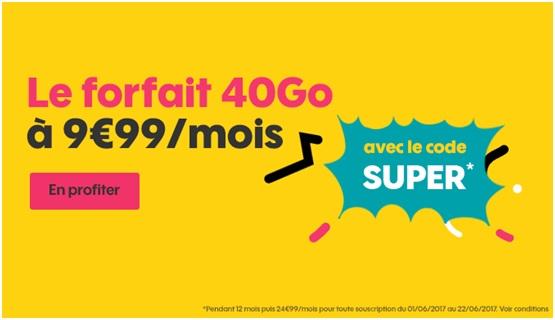 Un nouveau forfait illimité 40 Go à 9€99 par mois — SOSH