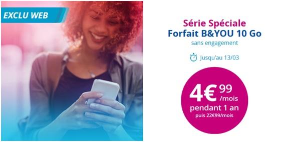 Bouygues Telecom relance la série limitée B&You 10Go à 5€/mois