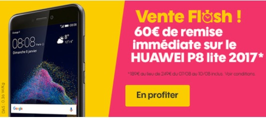 nouvelle vente flash sosh 60 euros de remise sur le huawei p8 lite 2017. Black Bedroom Furniture Sets. Home Design Ideas