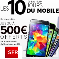 Les 10 jours du mobile SFR : 5€ de remise pendant 12 mois sur les formules carrées !