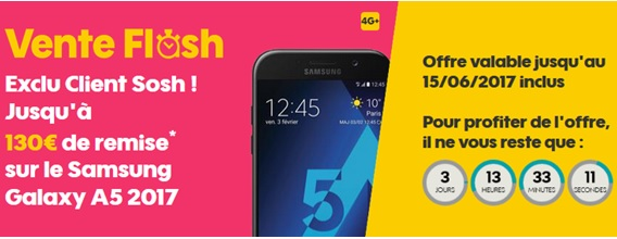 Vente flash le samsung galaxy a5 2017 prix discount chez sosh exclu client - Vente flash electromenager discount ...