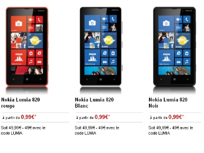 le nokia lumia 820 sous windows phone est moins d 39 1 euro. Black Bedroom Furniture Sets. Home Design Ideas