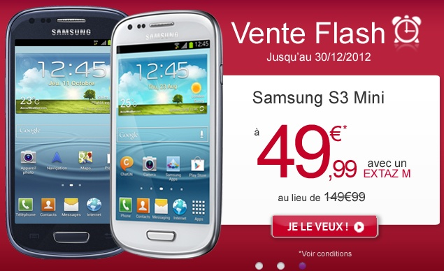 promotion virgin mobile baisse le prix du samsung galaxy s3 mini. Black Bedroom Furniture Sets. Home Design Ideas