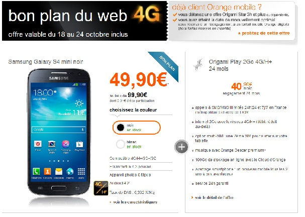 bon plan orange le samsung galaxy s4 mini en promotion. Black Bedroom Furniture Sets. Home Design Ideas