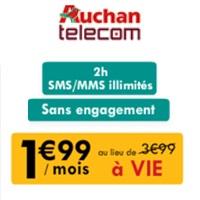 Auchan Telecom : Forfait 2H + SMS /MMS illimit�s en promo � 1.99� � vie
