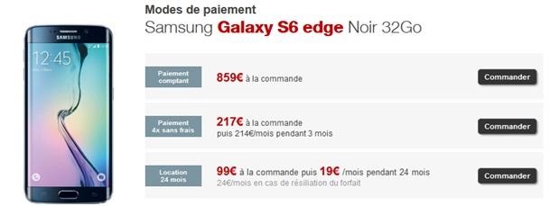 Free mobile vous propose le samsung galaxy s6 edge 99 la commande - Telephone paiement plusieurs fois ...