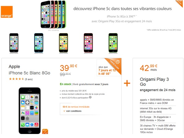 bon plan web orange 60 de remise sur l iphone 5c 8go. Black Bedroom Furniture Sets. Home Design Ideas