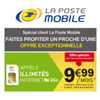 Spécial client La Poste Mobile : Un forfait illimité 3Go en 4G supplémentaire ou pour un proche à 9.99€ !