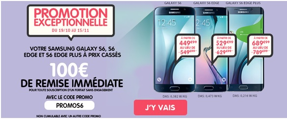 100 euros remise immediate samsung GS6 NRJ Mobile