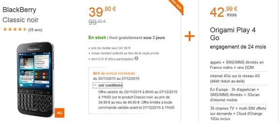 blackberry classic en promo chez orange. Black Bedroom Furniture Sets. Home Design Ideas