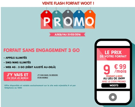 forfait woot 3go en promo à 9.99€ Mars