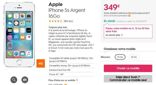 iphone 5s son prix baisse avec un forfait sosh by orange. Black Bedroom Furniture Sets. Home Design Ideas