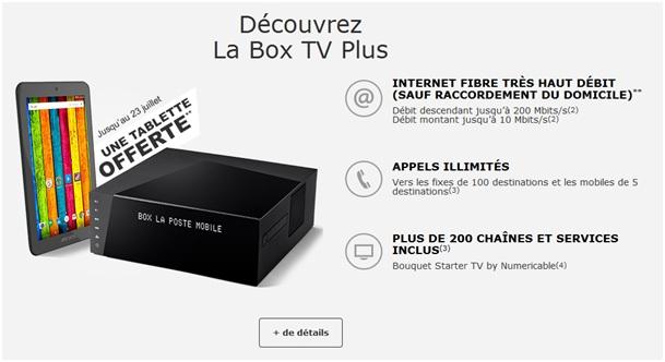 la poste mobile une tablette offerte avec la box tv plus