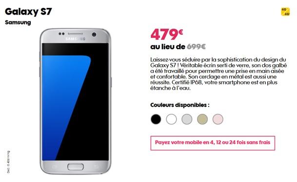 Vente flash exceptionnelle sur le samsung galaxy s7 chez l 39 op rateur sosh - Payer en plusieurs fois telephone portable ...