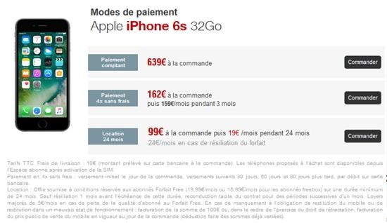 iphone 6s 32go prix free en location. Black Bedroom Furniture Sets. Home Design Ideas