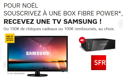 box sfr tv samsung offerte ou 150 euros de ch ques cadeaux ou 100 euros rembours s au choix. Black Bedroom Furniture Sets. Home Design Ideas