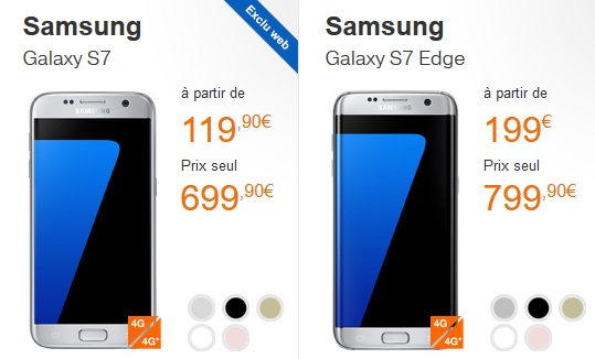 combien coute le samsung galaxy s7 edge