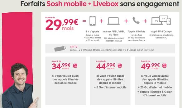 bon plan les forfaits sosh livebox et mobile en promo partir de euros. Black Bedroom Furniture Sets. Home Design Ideas