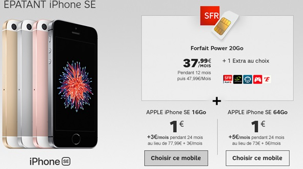 iphone se 16go ou 64go 1 euro en vente priv e avec sfr. Black Bedroom Furniture Sets. Home Design Ideas