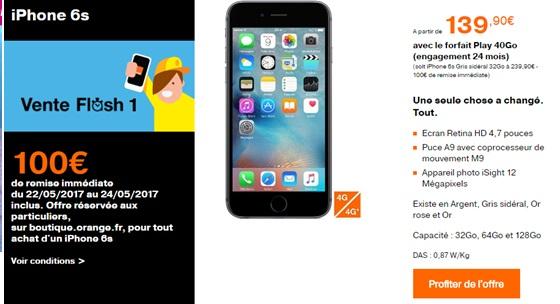 4a97ba501f2 Vente flash Orange : 100 euros de remise immédiate sur l'iPhone 6s ...