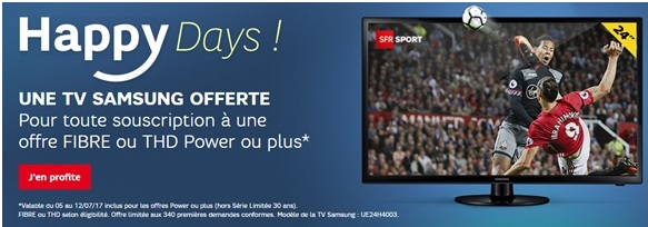 sfr box l op ration happy days avec une tv samsung offerte expire ce soir. Black Bedroom Furniture Sets. Home Design Ideas
