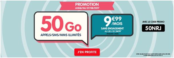 promotion le forfait nrj mobile 50go euros sans engagement chez nrj mobile. Black Bedroom Furniture Sets. Home Design Ideas