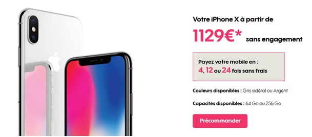 iphone x son prix avec un forfait sans engagement. Black Bedroom Furniture Sets. Home Design Ideas