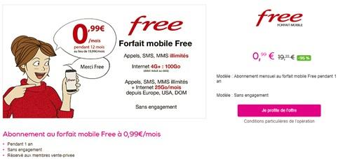 forfait mobile free 0 99 euros