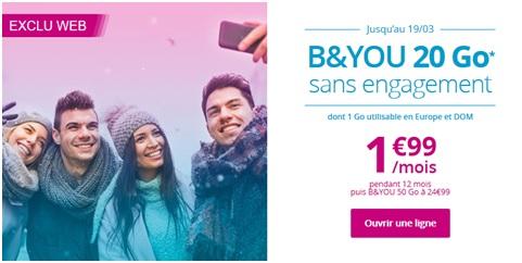 B&YOU Bouygues Telecom></center> <p>Avec cette formule B&YOU, Bouygues Telecom met à votre disposition les appels et SMS illimités depuis et vers la France métropolitaine et DOM ainsi que les appels et SMS illimités depuis l'Europe et les DOM vers la France métropolitaine, l