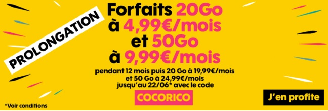 prolongation promo Sosh 20Go 4,99 euros