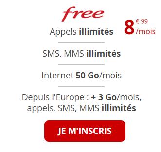 forfait 50Go Free Mobile