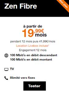 Livebox zen fibre promo