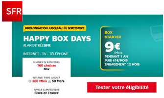 hapyy box days sfr fibre ou adsl