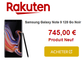 Samsung Galaxy Note 9 745€ chez Rakuten