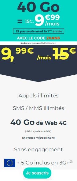 promo 40Go Cdiscount Mobile