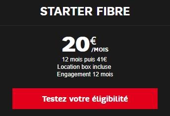 Offre Starter Fibre de SFR à 20 euros