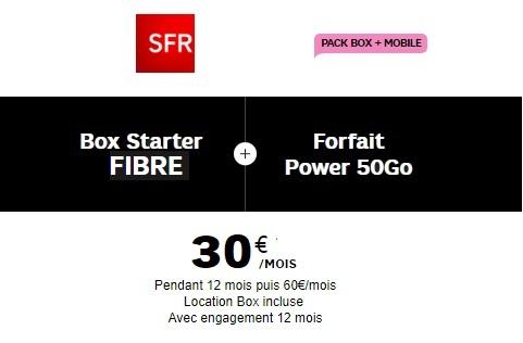Box Fibre + Mobile SFR à 30€ par mois pendant 12 mois