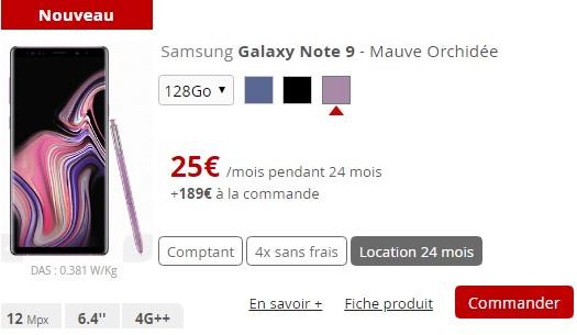 Galaxy Note 9 en location chez Free