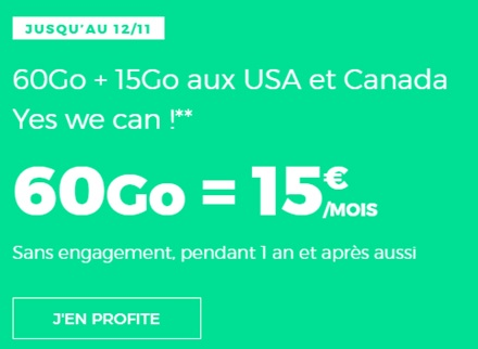 forfait Red 60Go à 15€ chez RED by SFR