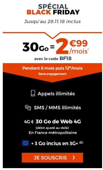forfait cdiscount 30Go à 2,99 euros