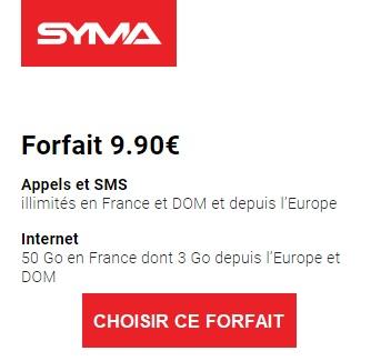 Forfait essentiel syma mobile 50Go à 9,90 euros