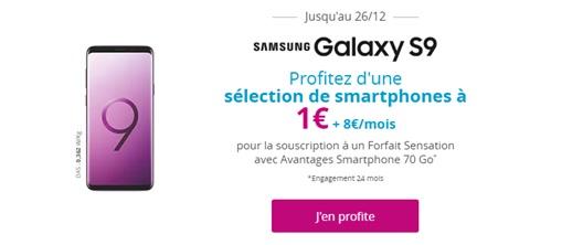 Samsung Galaxy s9 à 1 euro avec un forfait sensation bouygues