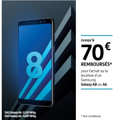70 euros remboursés sur le samsung galaxy a8 et galaxy a6