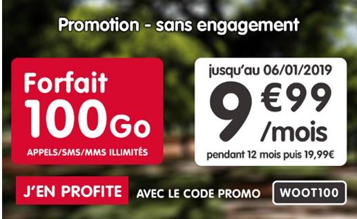 Forfait 100o à 9,99 euros par mois pendant 1 an