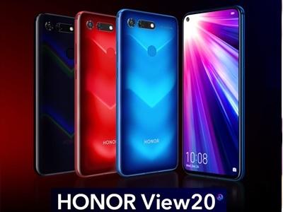 photo des différentes couleurs du honor view 20 avec face avant et arrière
