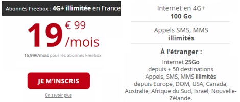 Le Forfait Free Mobile 100Go international