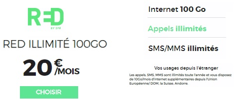 le forfait RED 100Go international