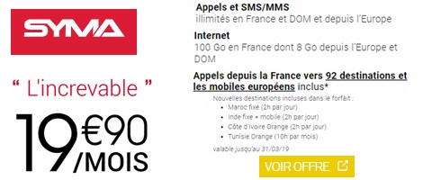 le forfait Syma Mobile 100go international