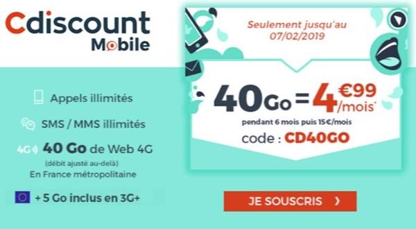 la promo cdiscount mobile 40go
