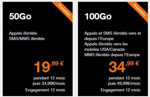 sélection de forfaits orange avec data